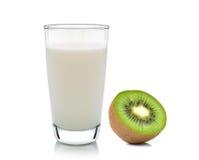 Kiwi fruit and milk  on white background Royalty Free Stock Image