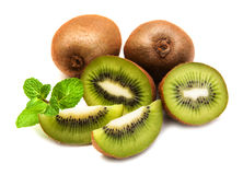 Kiwi fruit. With mint on a  white  background Stock Photos