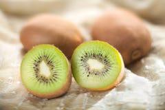 Kiwi fruit on napkin Royalty Free Stock Photos