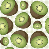 Kiwi Fruit Seamless Pattern on Tablecloth Royalty Free Stock Images