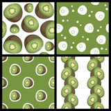 Kiwi Fruit Seamless Patterns Set Arkivbild