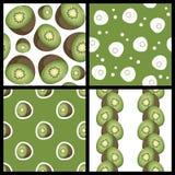 Kiwi Fruit Seamless Patterns Set Fotografía de archivo