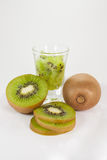 Kiwi fruit set. Include glass of kiwi, half kiwi, slice kiwi and full kiwi Royalty Free Stock Image