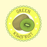 Kiwi fruit slice art label design vector illustration. Kiwi fruit slice closeup icon isolated art logo design. Vegetarian juicy natural sweet symbol. Color ripe Stock Image