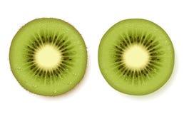 Kiwi fruit slice. Detailed kiwi fruit slice illustration. Peeled and unpeeled Stock Photos