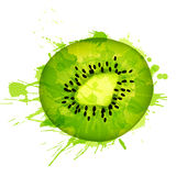 Kiwi fruit slice made of colorful splashes Stock Image