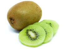 Kiwi fruit, slice of qiwi isolated on white background Stock Photo