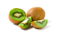 Kiwi fruit sliced and. On white background Royalty Free Stock Images