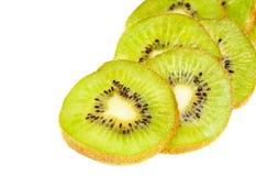 Kiwi fruit sliced isotated ower white. Background stock photos
