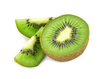 Kiwi  fruit  sliced  segments isolated on white background Royalty Free Stock Photos