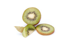 Kiwi fruit sliced segments isolated on white background Stock Photography