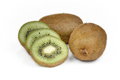 Kiwi fruit sliced segments isolated on white background cutout. Royalty Free Stock Photos