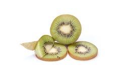 Kiwi fruit sliced segments isolated on white background cutout Stock Image