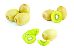 Kiwi fruit and sliced segments isolated on white background Royalty Free Stock Photos