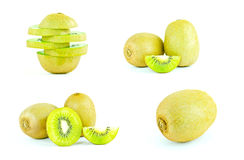 Kiwi fruit and sliced segments isolated on white background Royalty Free Stock Image