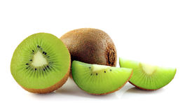Kiwi fruit sliced segments on white background Royalty Free Stock Image