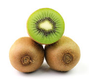 Kiwi fruit sliced segments on white background Stock Images