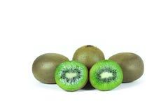 Kiwi fruit sliced segments  on white background wi Royalty Free Stock Photos