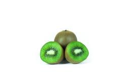 Kiwi fruit sliced segments  on white background wi Stock Photos