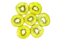Kiwi fruit sliced on a white background Stock Photos