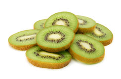 Kiwi fruit slices. On white background Royalty Free Stock Photo
