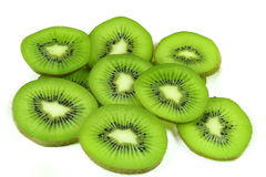 Kiwi fruit slices. On white background Stock Photo