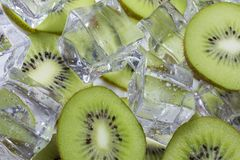 Kiwi fruit with ice. Kiwi fruit slices in a bowl with ice cubes royalty free stock photo