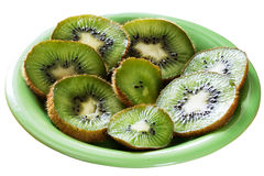 Kiwi fruit slices on plate Royalty Free Stock Photo