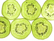 Kiwi Fruit, Slices, Thin, Back Lit Stock Image