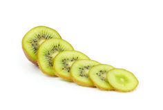 Kiwi fruit slices on white Stock Photo