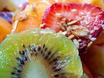 Kiwi fruit starwberry grains breakfast royalty free stock photo