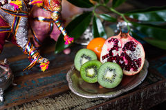 Kiwi fruit still life in the Indian interior Royalty Free Stock Images
