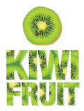 Kiwi Fruit text made from kiwi fruits. Vector illustration of the word kiwi fruit filled with a kiwi fruit pattern Stock Photography