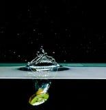 Kiwi fruit into water, isolated on black Royalty Free Stock Image