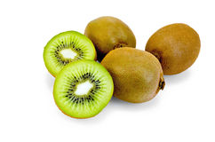 Kiwi fruit on white background Stock Images