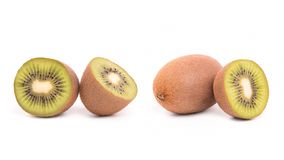 Kiwi fruit on white background. Kiwi fruit in cut and whole, isolated, white, background, half, ripe, juicy, food, slice, part, section, green, cutout, healthy stock photography