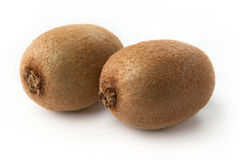 Kiwi fruit on white background. Two ripe juicy kiwi kiwi fruit on white background Stock Images