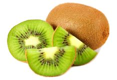 Free Kiwi Fruit With Slices And Green Leaves Isolated On A White Background Stock Photo - 155813510