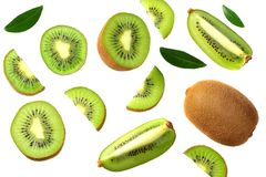 Free Kiwi Fruit With Slices And Green Leaves Isolated On A White Background. Top View Royalty Free Stock Image - 153922356