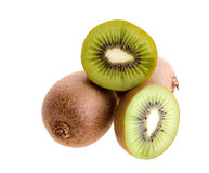 Kiwi fruits. Whole and cut kiwi fruits Royalty Free Stock Photography