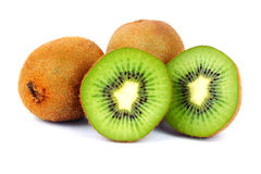 Kiwi Fruits. Sliced section of Kiwi with white background stock photos