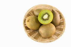 Kiwi fruits in basket Royalty Free Stock Images