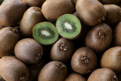 Kiwi fruits on the counter for sale in a vegetable shop. Royalty Free Stock Photo