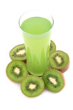 Kiwi fruits and juice. Kiwi juice and fruits on white background stock photo