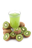 Kiwi fruits and juice Stock Images
