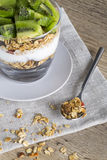 Kiwi and granola with yoghurt Royalty Free Stock Photography