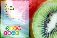 Kiwi with grapefruit over calories and vitamins Royalty Free Stock Photo