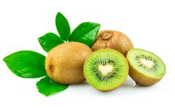 Kiwi with leaves. Kiwi with green leaves isolated on white background Royalty Free Stock Photo