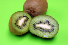 Kiwi Halves and Whole Stock Photo