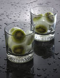 Kiwi ice cubes Stock Images